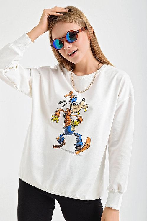 Goffy Karakter Baskılı Bisiklet Yaka Sweatshirt