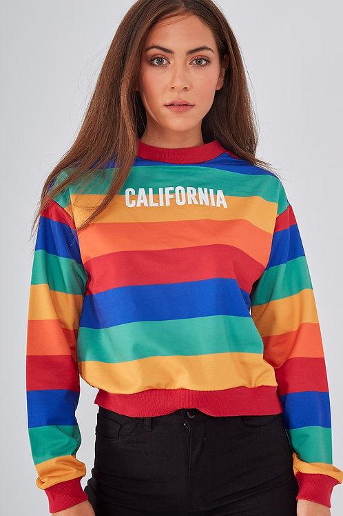 Renkli Çizgili California Baskılı Kısa Sweatshirt