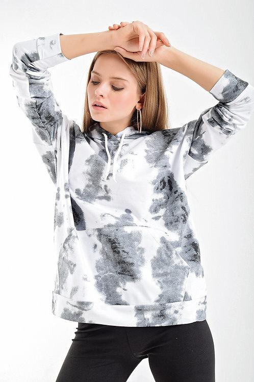 Kapşonlu Batik Desen Sweatshirt