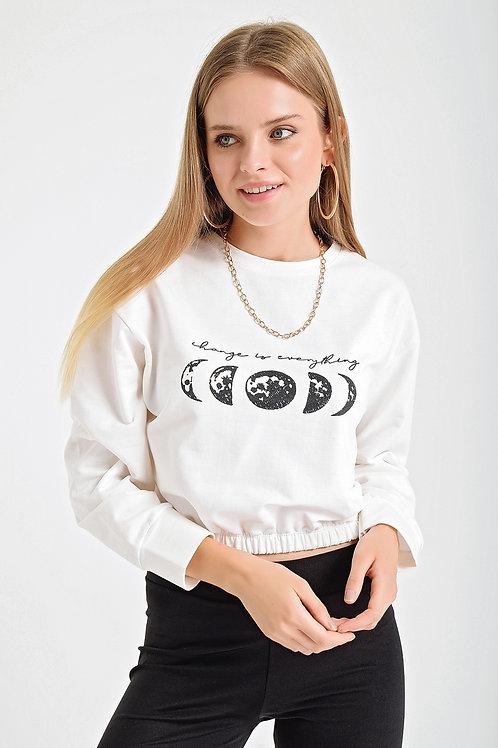 Dolunay Baskılı Eteği Lastikli Kısa Sweatshirt