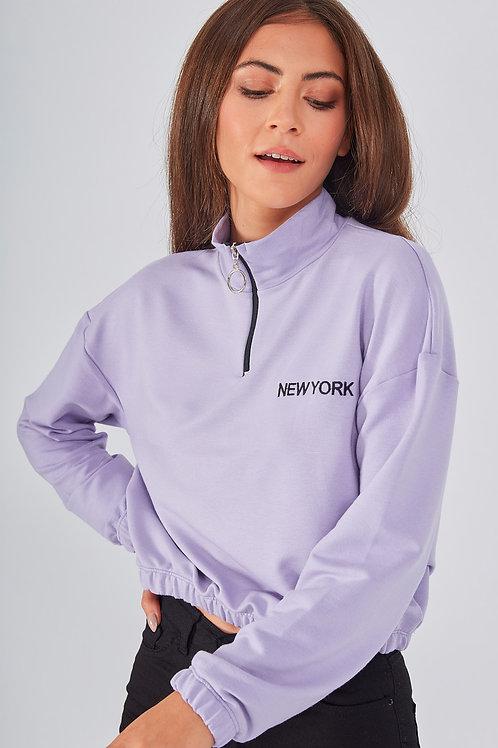 Fermuarlı Dik Yaka Crop Örme Sweatshirt