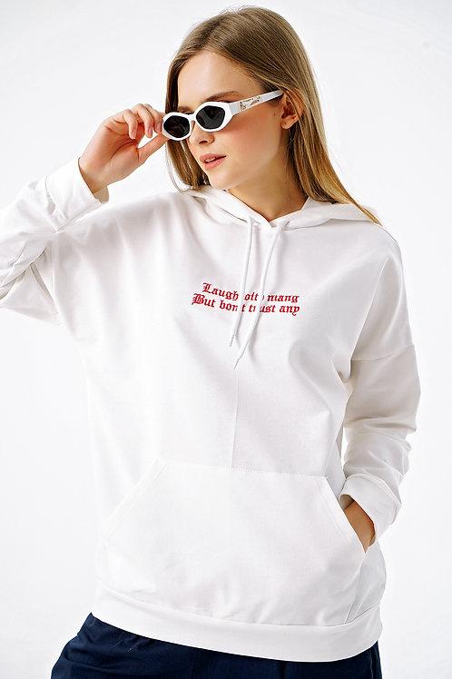Onu Yazılı Kapüşonlu Cepli Oversize Sweatshirt