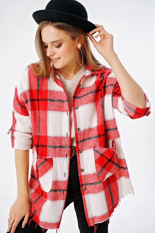 Çift Cepli Ekoseli Oversize Oduncu Gömlek