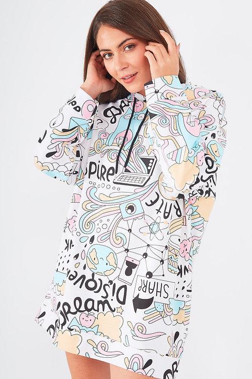 Grafik Desenli Oversize Sweat Elbise