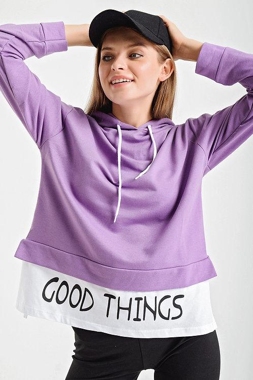 Good Things Yazılı Çift Görünümlü Kapşonlu Sweatshirt