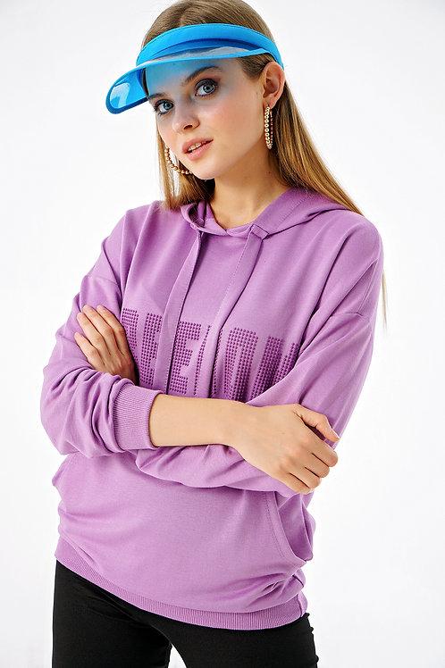 Freedom Baskılı Cepli Kapüşonlu Sweatshirt