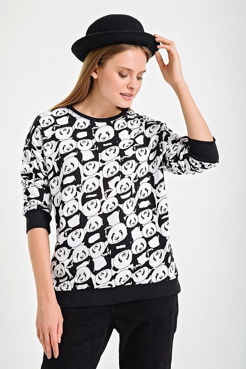 Panda Figürlü Bisiklet Yaka Sweatshirt