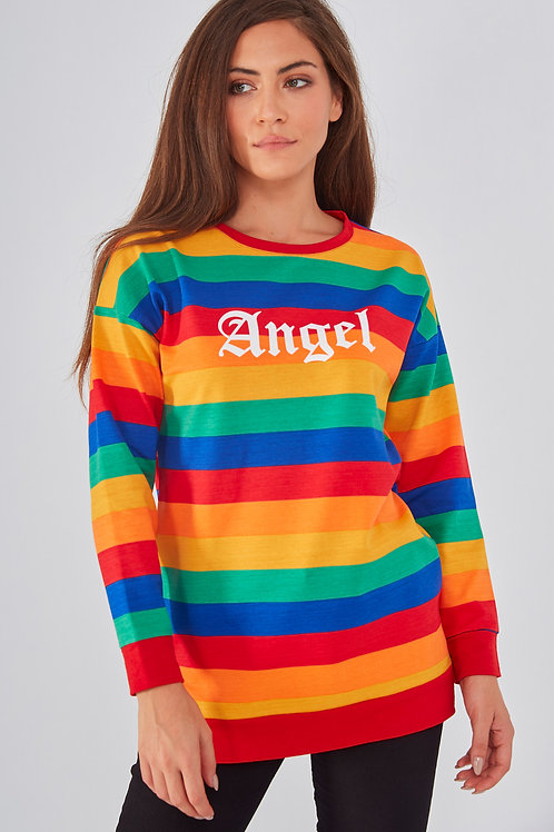 Angel Baskılı Renkli Çizgili Yırtmaçlı Sweatshirt