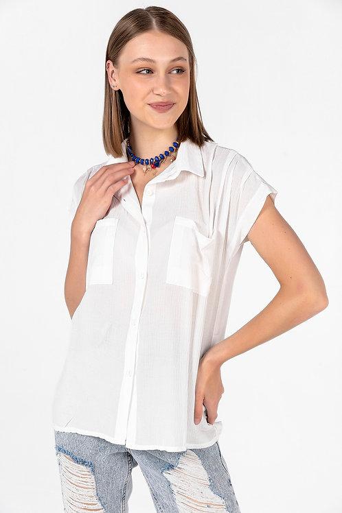Kadın Ekru Çift Cepli Kolsuz Gömlek