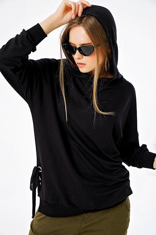 Yandan Bağcıklı Kapüşonlu Ovirsize Sweatshirt