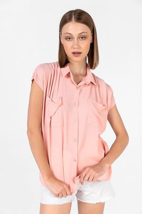 Kadın Pudra Çift Cepli Kolsuz Gömlek