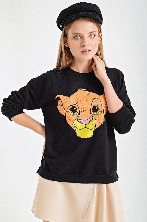 Simba Baskı Bisiklet Yaka Sweatshirt