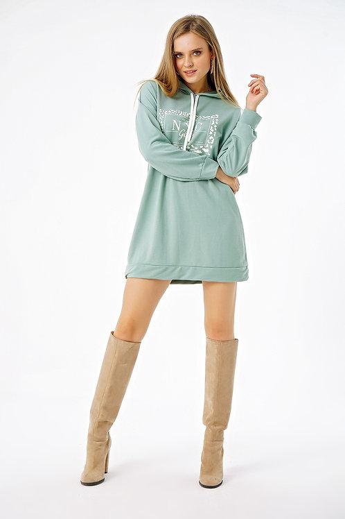 Nyc Girls Baskılı Kapüşonlu Oversize Sweat Elbise