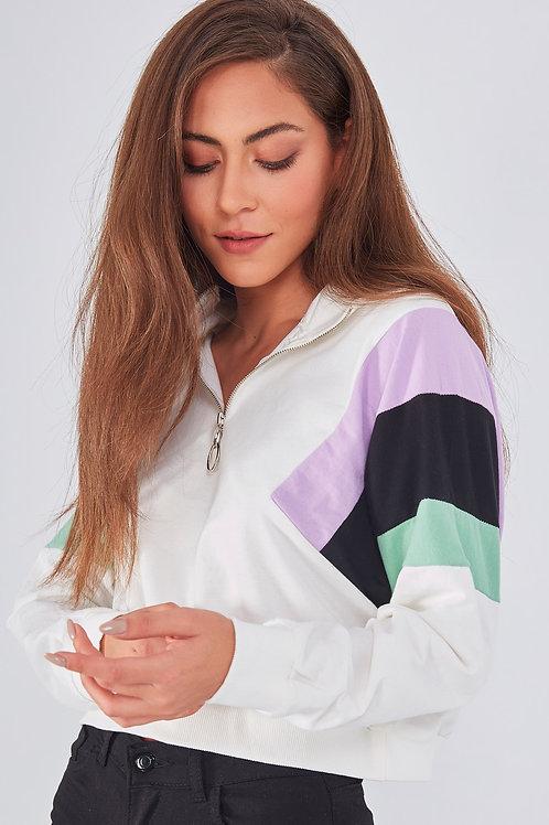 Yakası Fermuarlı Renkli Garnili Sweatshirt