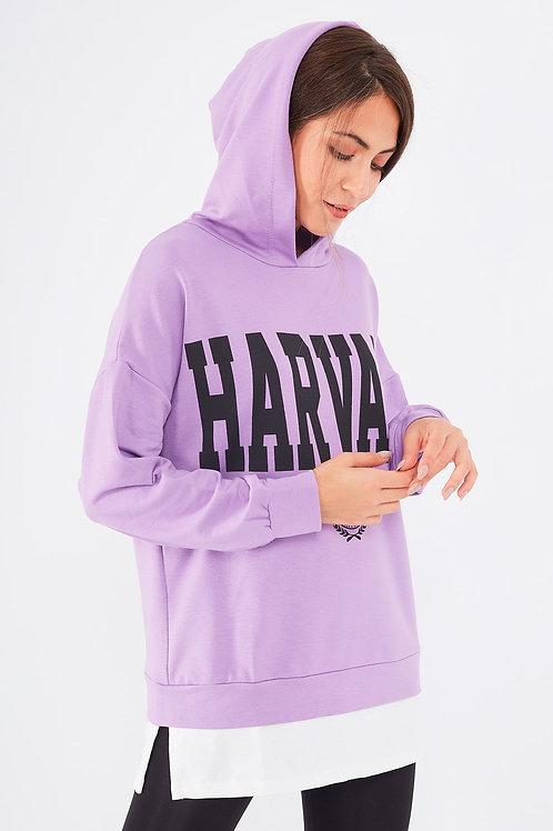 Harward Baskılı Çift Görünümlü Kapüşonlu Sweat Elbise