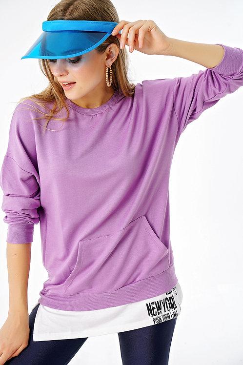Harward Baskılı Çift Görünümlü Kanguru Cepli Oversize Sweatshirt