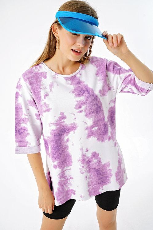 Dirsek Kol Yırtmaçlı Batik Tişört