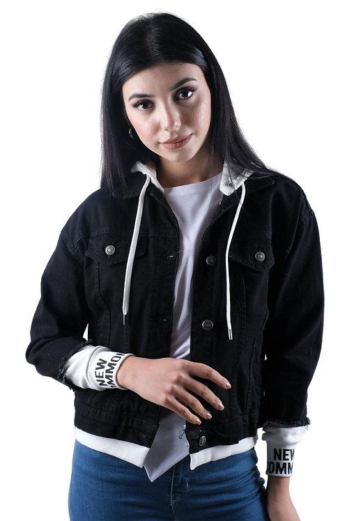 Penye Kapşonlu Siyah Kot Ceket