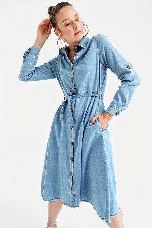 Kadın Boydan Düğmeli Kuşaklı Kot Elbise