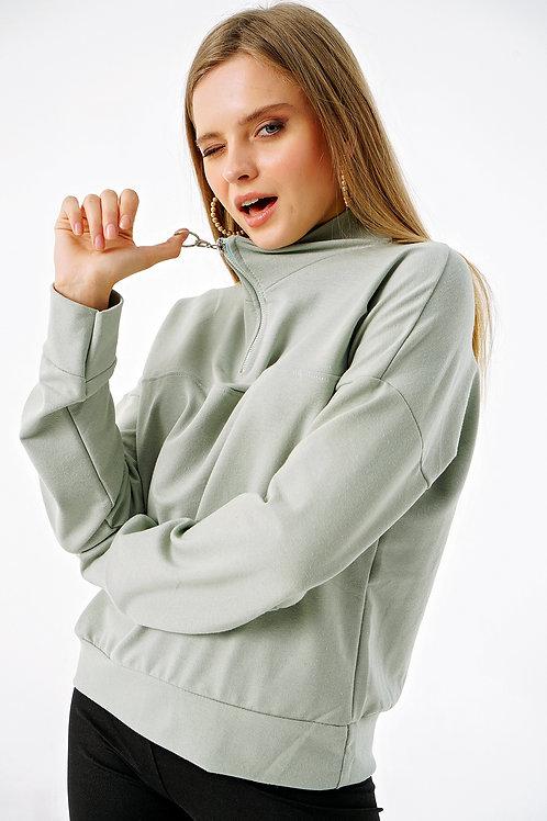 Yakası Fermuarlı Dik Yaka Sweatshirt