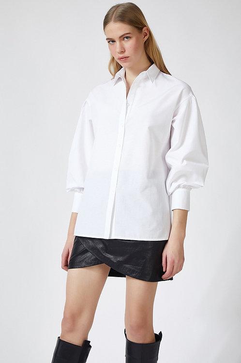 Kadın Balon Kollu Poplin Gömlek
