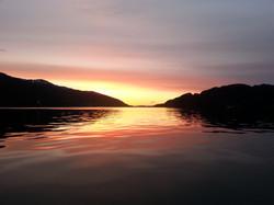 solnedgang på sjøen