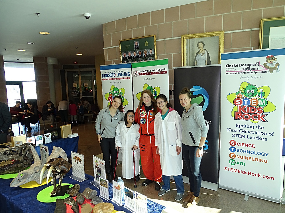 Pictured from left to right: Fielding Montgomery, Jordyn Sunn, Keeley Aird, Patricia Rea, Karolina Urban at STEM Kids Rock Science Outreach