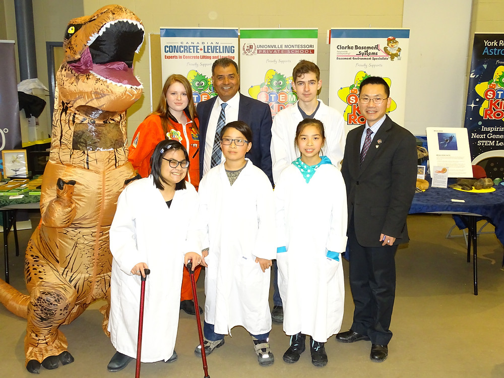 STEM Kids Rock at the Honourable Bob Saroya, MP's New Year's Levee - pictured left to right: Tyler Beer, Keeley Aird, The Honourable Bob Sayroa, MP, Liam McGarry, Charles Jiang, Jordyn Sunn, Daniel Wen and Leah Chang