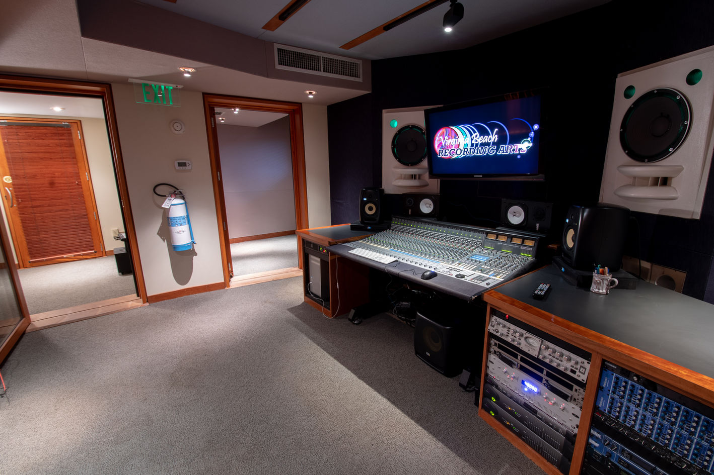 Virginia Beach Recording Arts Studio B Viewing Iso and Sound Lock