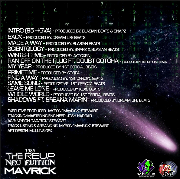 MAVRICK _ 1986 REUP THE NEO EDITION - Album Back Cover with Credits