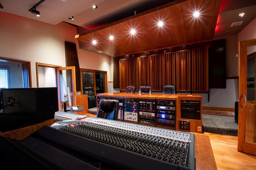 Studio A Control Room Facing Producer's Desk