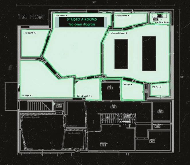 Virginia Beach Recordiing Arts Studio A Top-Down Diagram