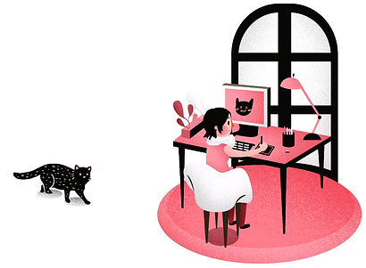 Freelance illustrator illustrating pink an black