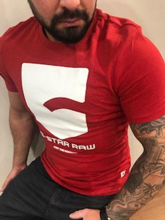 T-Shirt homme rouge imprimé blanc  G-StarRaw