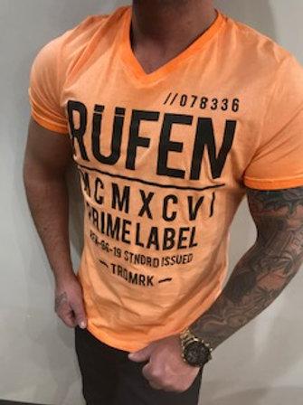 T-Shirt homme orangé imprimé noir  Rufen