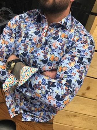 Chemise manches longue fleurie bleu/orange. 7 Downie St