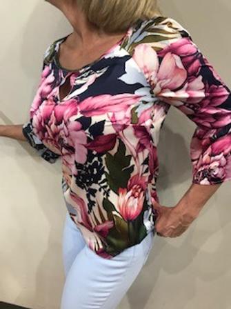 Top femme fleuri rose et bleu pâle  Comma