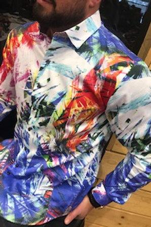 Chemise manches longue motifs multicolores. Au Noir