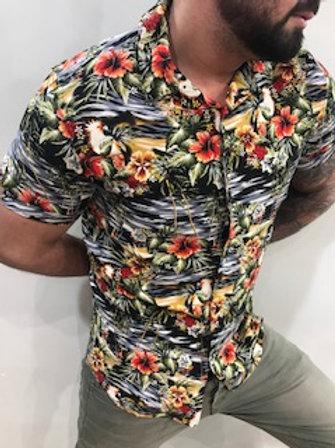 Chemise manches courtes fleurie orangée. Guess