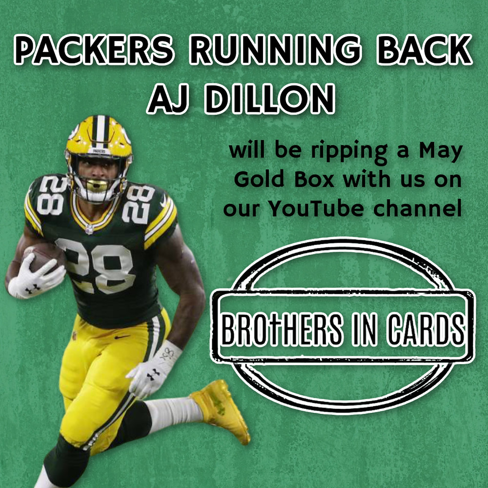 Packers Running Back, AJ Dillon, will be ripping a Brothers In Cards May Gold Box from the Pack Plus Program with us on YouTube! Be sure to subscribe.