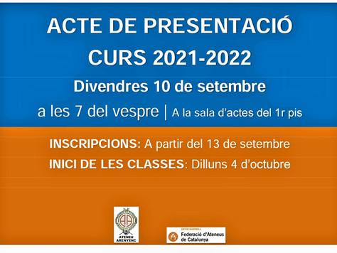 PRESENTACIÓ DEL CURS 2021-2022