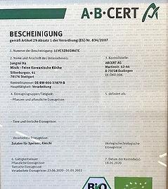 Bio-Zertifikat von MISIK Koreanische Bio Feinkost