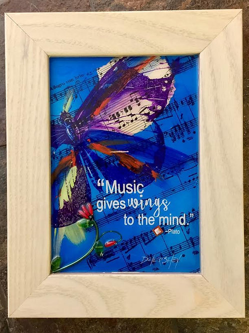 """Wings to the Mind""~Framed Collage on Glass, 7"" X 9"""