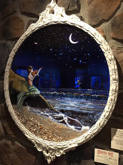 """Mermaid Virtuosa""~Glass Collage on Vintage Mirror, 26"" X 32"""