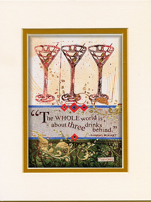#162-Three Drinks-Matted Print