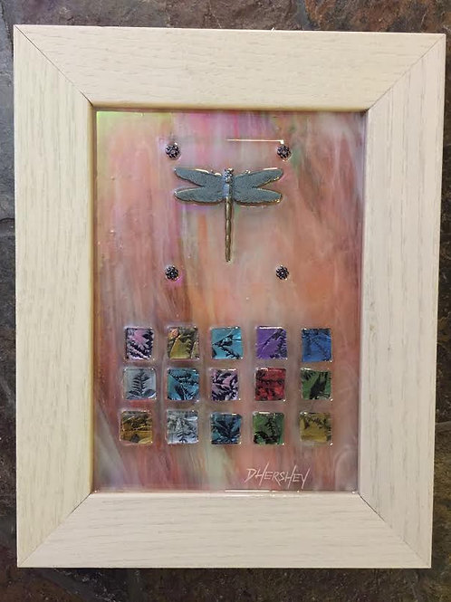 """Dragonfly""~ Original Glass Collage, 7"" X 9"""