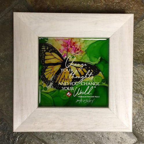 """Change Your Thoughts""~Framed Glass Art, 6"" X 6"""