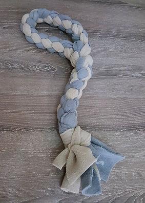 Handled link-style fleece tug toy