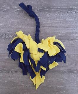 Navy Blue & Yellow Heart Snuffle & Tug Dog Toy