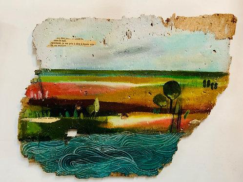 נוף עם גלי ים, ציור על עץ ממוחזר